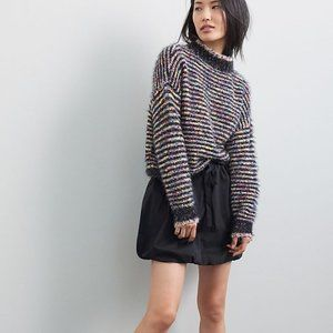 NWT Anthropologie Singen Mini Skirt | Black | XL